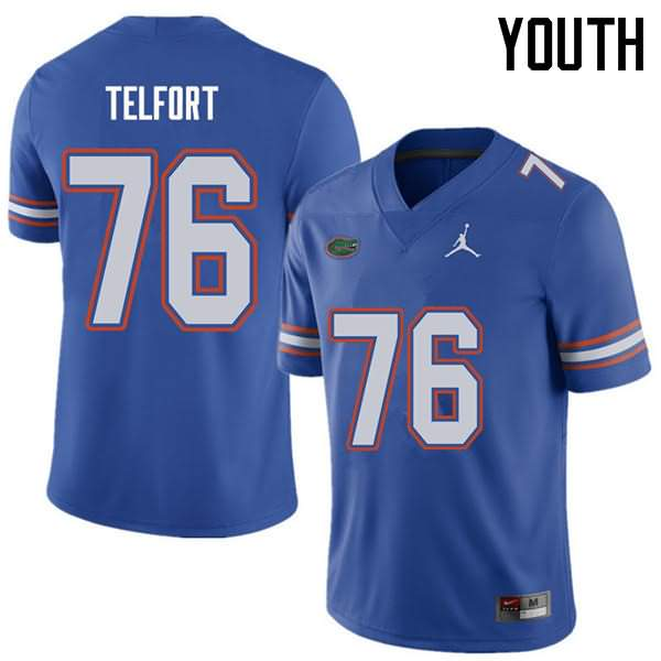 Youth Florida Gators #76 Kadeem Telfort Royal Jordan Brand NCAA College Football Jersey WET875MJ