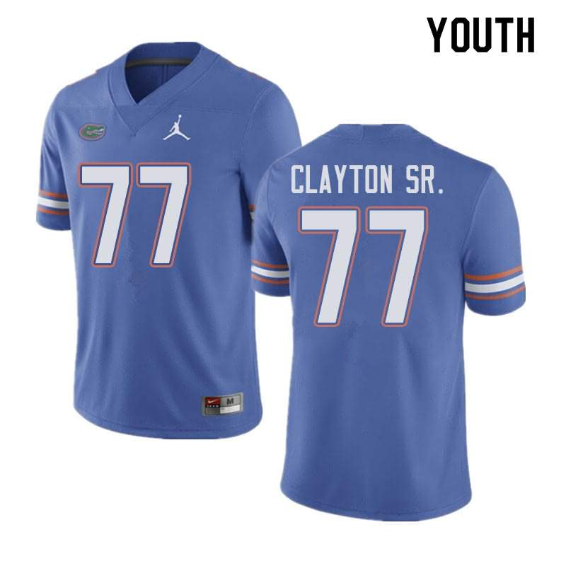 Youth Florida Gators #77 Antonneous Clayton Sr. Blue Jordan Brand NCAA College Football Jersey IXX008UJ