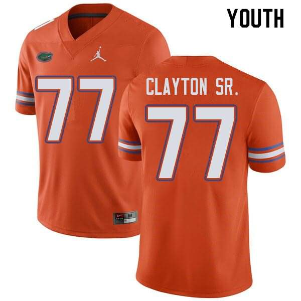 Youth Florida Gators #77 Antonneous Clayton Sr. Orange Jordan Brand NCAA College Football Jersey BJR647JJ