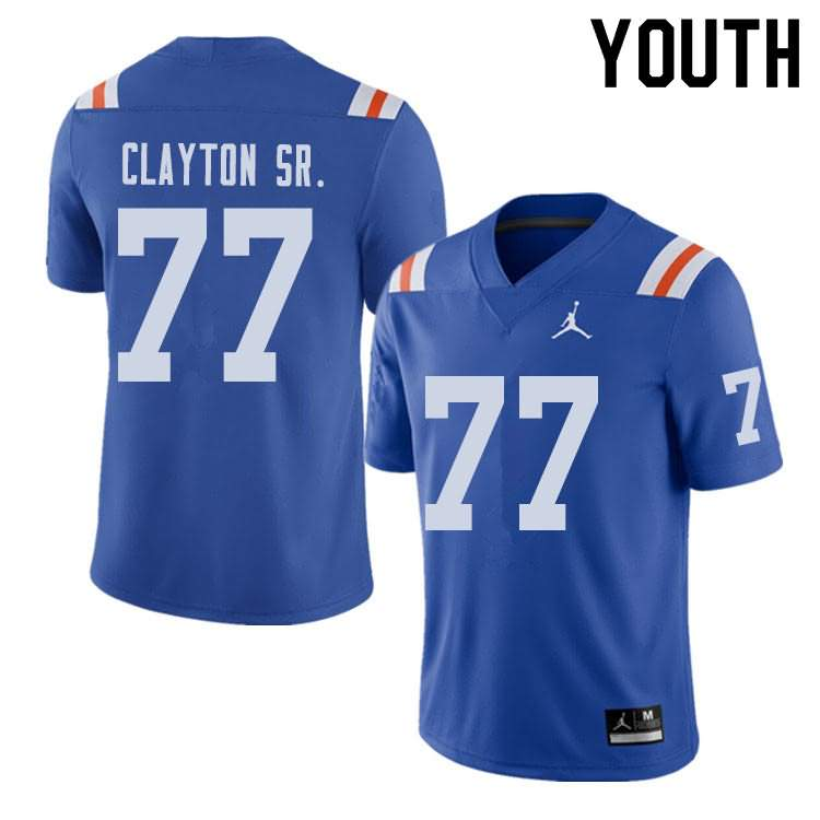 Youth Florida Gators #77 Antonneous Clayton Sr. Alternate Throwback Jordan Brand NCAA College Football Jersey MFI264ZJ