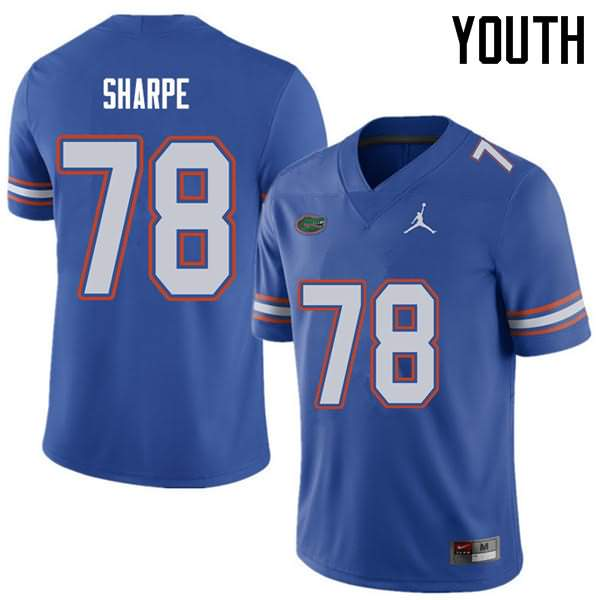 Youth Florida Gators #78 David Sharpe Royal Jordan Brand NCAA College Football Jersey WBR246HJ
