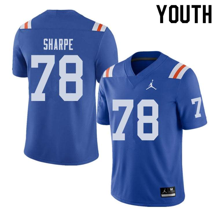 Youth Florida Gators #78 David Sharpe Alternate Throwback Jordan Brand NCAA College Football Jersey CKZ643IJ