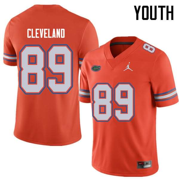 Youth Florida Gators #89 Tyrie Cleveland Orange Jordan Brand NCAA College Football Jersey DMY820DJ