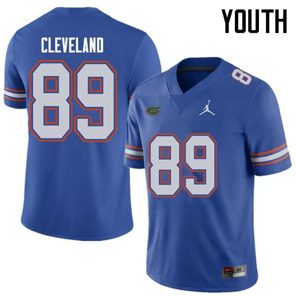 Youth Florida Gators #89 Tyrie Cleveland Royal Jordan Brand NCAA College Football Jersey EFM643PJ