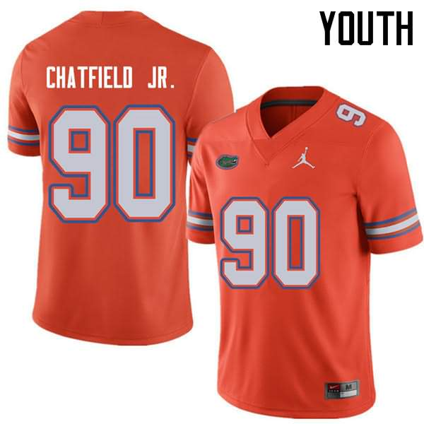 Youth Florida Gators #90 Andrew Chatfield Jr. Orange Jordan Brand NCAA College Football Jersey BRG776XJ