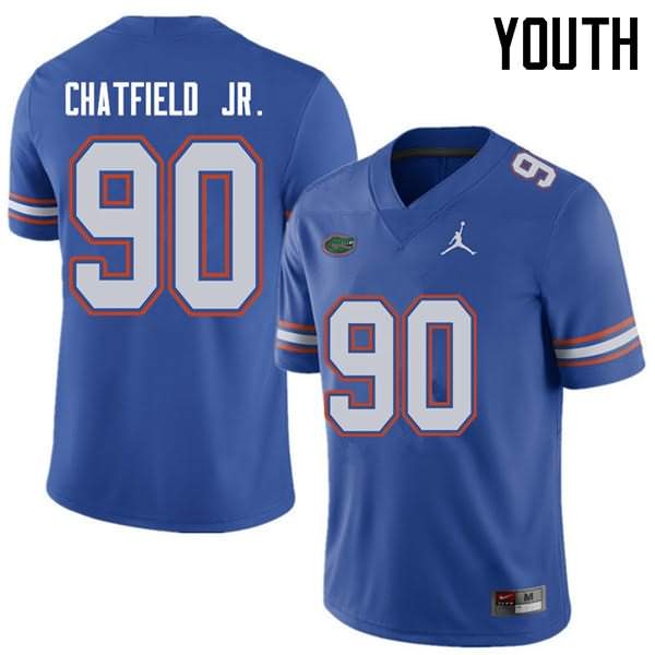 Youth Florida Gators #90 Andrew Chatfield Jr. Royal Jordan Brand NCAA College Football Jersey ZOF310FJ