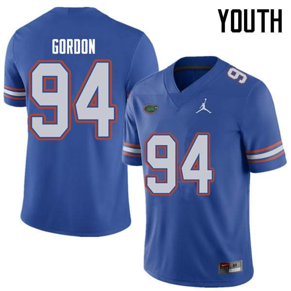 Youth Florida Gators #94 Moses Gordon Royal Jordan Brand NCAA College Football Jersey YDV766YJ