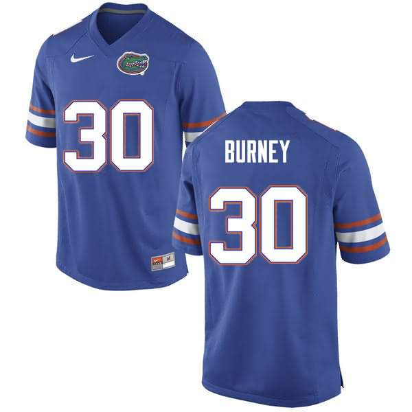 Men's Florida Gators #30 Amari Burney Blue Nike NCAA College Football Jersey OQZ221YJ