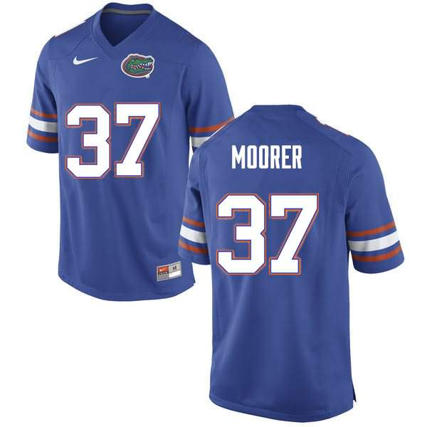 Men's Florida Gators #37 Patrick Moorer Blue Nike NCAA College Football Jersey MPT745HJ