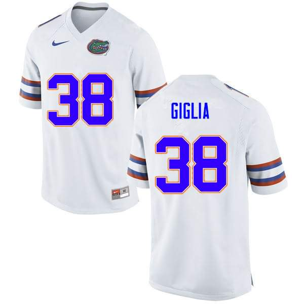 Men's Florida Gators #38 Anthony Giglia White Nike NCAA College Football Jersey VAC626VJ
