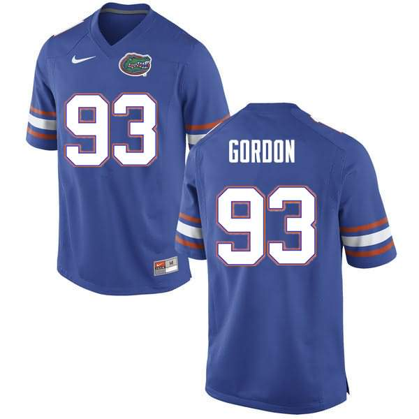 Men's Florida Gators #93 Moses Gordon Blue Nike NCAA College Football Jersey HHS682ZJ