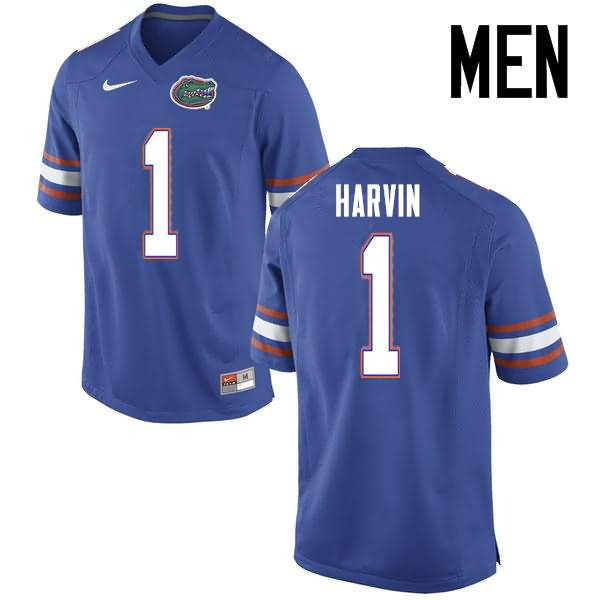 Men's Florida Gators #1 Percy Harvin Blue Nike NCAA College Football Jersey FWY337XJ