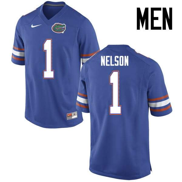 Men's Florida Gators #1 Reggie Nelson Blue Nike NCAA College Football Jersey IBX348GJ