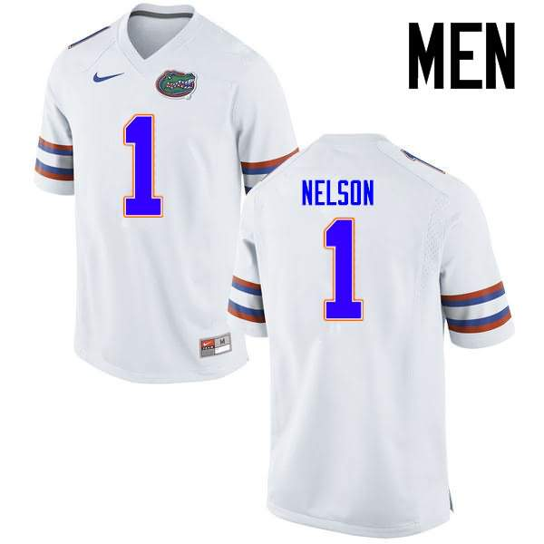 Men's Florida Gators #1 Reggie Nelson White Nike NCAA College Football Jersey QFS610VJ