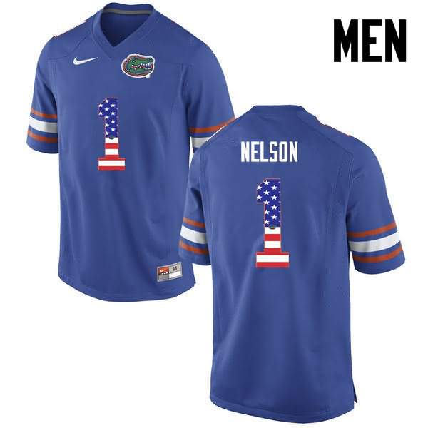 Men's Florida Gators #1 Reggie Nelson USA Flag Fashion Nike NCAA College Football Jersey PWR052KJ