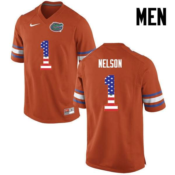 Men's Florida Gators #1 Reggie Nelson USA Flag Fashion Nike NCAA College Football Jersey URA872BJ