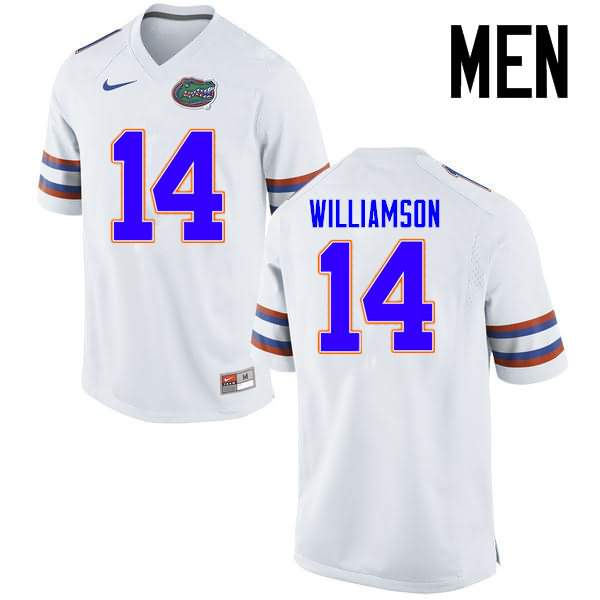 Men's Florida Gators #14 Chris Williamson White Nike NCAA College Football Jersey PFM422FJ