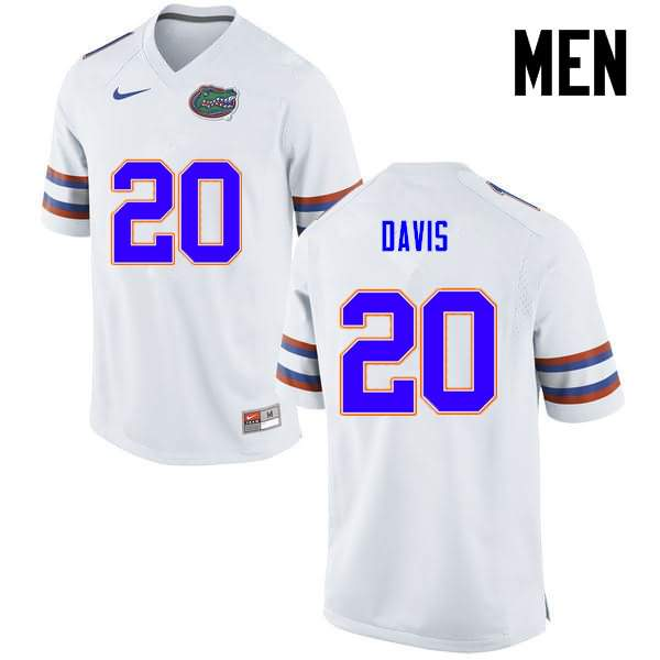 Men's Florida Gators #20 Malik Davis White Nike NCAA College Football Jersey ZXQ038KJ
