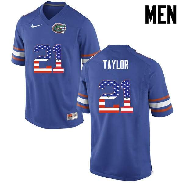 Men's Florida Gators #21 Fred Taylor USA Flag Fashion Nike NCAA College Football Jersey GWG214HJ
