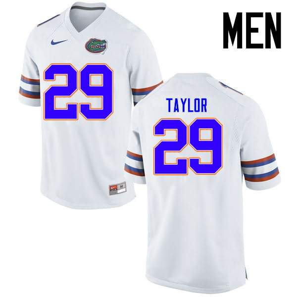 Men's Florida Gators #29 Jeawon Taylor White Nike NCAA College Football Jersey FPB201LJ