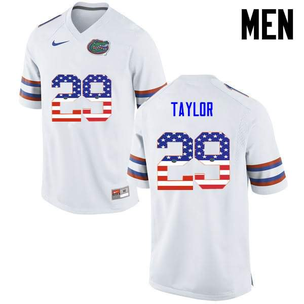 Men's Florida Gators #29 Jeawon Taylor USA Flag Fashion Nike NCAA College Football Jersey HQN274VJ