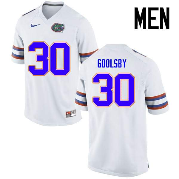 Men's Florida Gators #30 DeAndre Goolsby White Nike NCAA College Football Jersey PCT661VJ