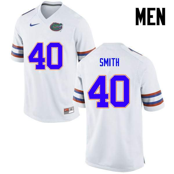 Men's Florida Gators #40 Nick Smith White Nike NCAA College Football Jersey ZBF214EJ