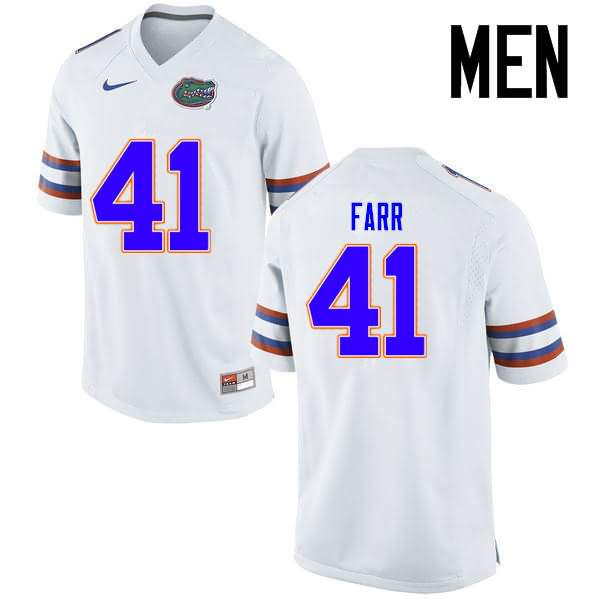 Men's Florida Gators #41 Ryan Farr White Nike NCAA College Football Jersey XUX605RJ