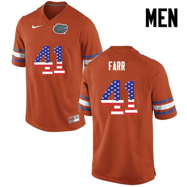 Men's Florida Gators #41 Ryan Farr USA Flag Fashion Nike NCAA College Football Jersey LBY004KJ