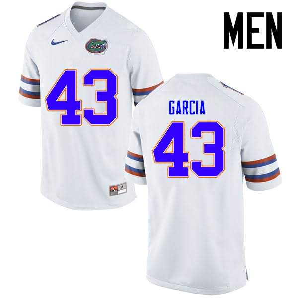 Men's Florida Gators #43 Cristian Garcia White Nike NCAA College Football Jersey YCD724KJ