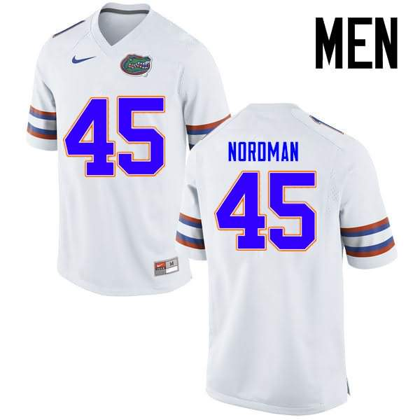 Men's Florida Gators #45 Charles Nordman White Nike NCAA College Football Jersey LEL781GJ