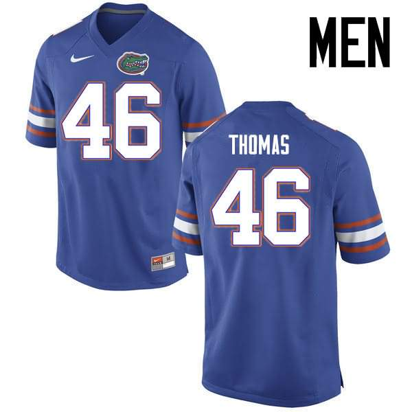 Men's Florida Gators #46 Will Thomas Blue Nike NCAA College Football Jersey WMZ456VJ