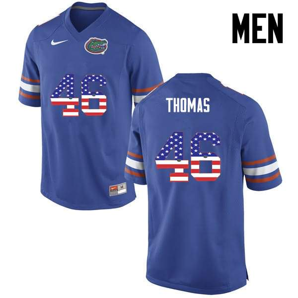 Men's Florida Gators #46 Will Thomas USA Flag Fashion Nike NCAA College Football Jersey MSQ518LJ