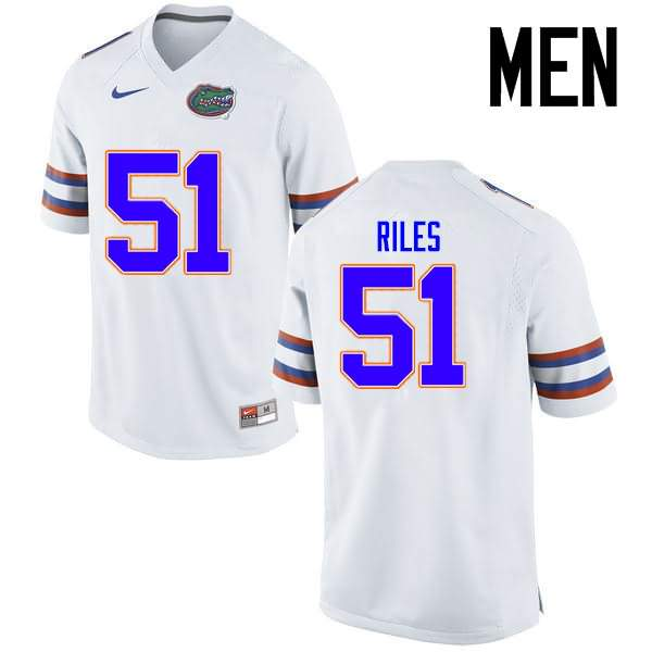 Men's Florida Gators #51 Antonio Riles White Nike NCAA College Football Jersey MZI306PJ