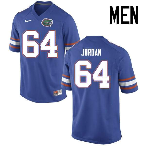 Men's Florida Gators #64 Tyler Jordan Blue Nike NCAA College Football Jersey RTX243RJ