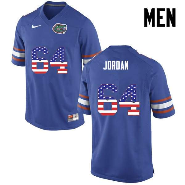 Men's Florida Gators #64 Tyler Jordan USA Flag Fashion Nike NCAA College Football Jersey FVZ477WJ