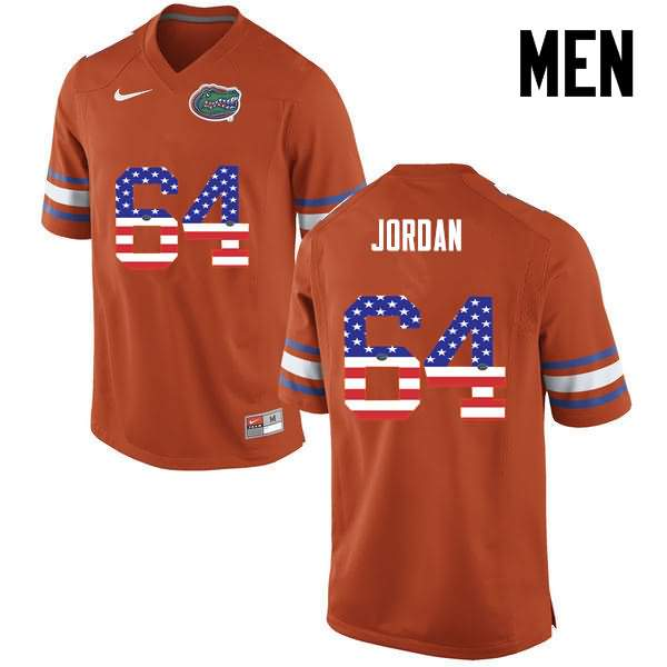 Men's Florida Gators #64 Tyler Jordan USA Flag Fashion Nike NCAA College Football Jersey PVI882IJ
