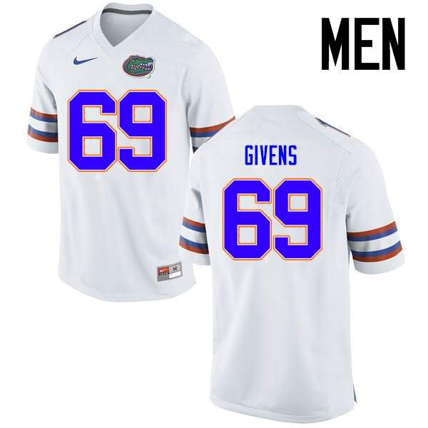 Men's Florida Gators #69 Marcus Givens White Nike NCAA College Football Jersey MTR537CJ