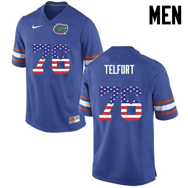 Men's Florida Gators #76 Kadeem Telfort USA Flag Fashion Nike NCAA College Football Jersey UKB627UJ
