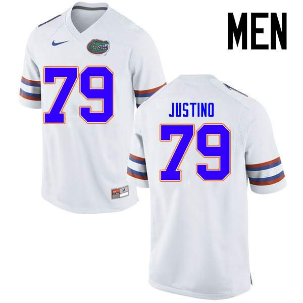 Men's Florida Gators #79 Daniel Justino White Nike NCAA College Football Jersey LXG588RJ