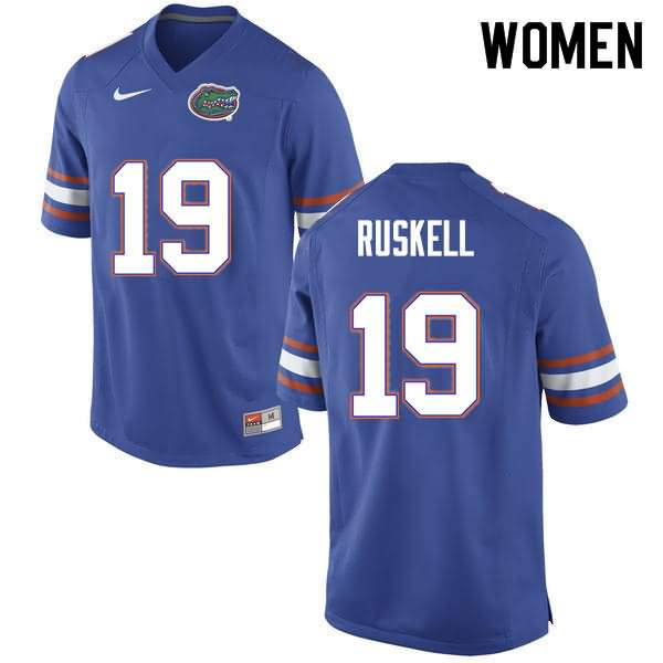 Women's Florida Gators #19 Jack Ruskell Blue Nike NCAA College Football Jersey STN405UJ