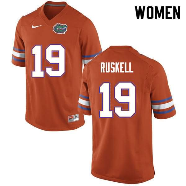 Women's Florida Gators #19 Jack Ruskell Orange Nike NCAA College Football Jersey VZH804NJ