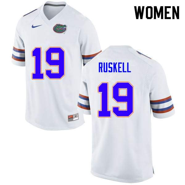 Women's Florida Gators #19 Jack Ruskell White Nike NCAA College Football Jersey RYT180QJ