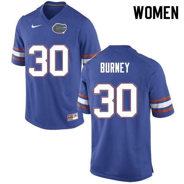 Women's Florida Gators #30 Amari Burney Blue Nike NCAA College Football Jersey PAL074YJ