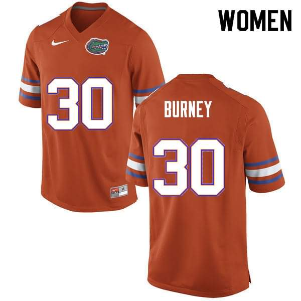 Women's Florida Gators #30 Amari Burney Orange Nike NCAA College Football Jersey ACZ326WJ