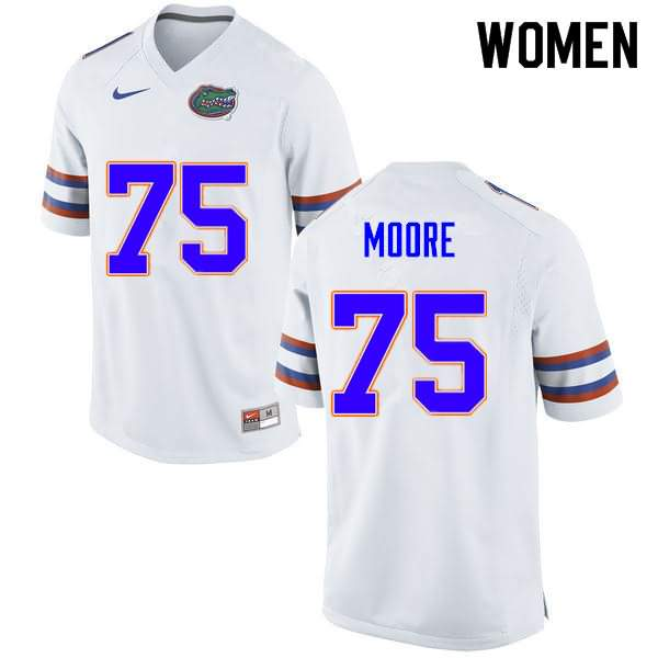 Women's Florida Gators #75 T.J. Moore White Nike NCAA College Football Jersey JNA465YJ