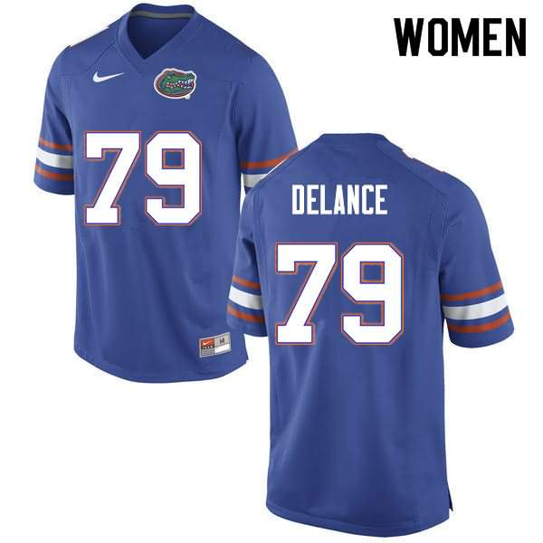 Women's Florida Gators #79 Jean DeLance Blue Nike NCAA College Football Jersey YKL887FJ
