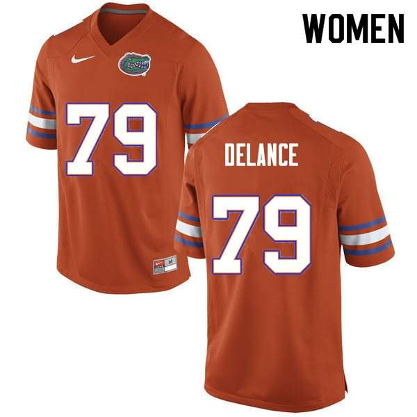 Women's Florida Gators #79 Jean DeLance Orange Nike NCAA College Football Jersey LXG718KJ