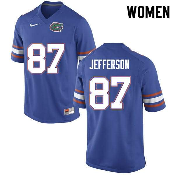 Women's Florida Gators #87 Van Jefferson Blue Nike NCAA College Football Jersey WEL327CJ