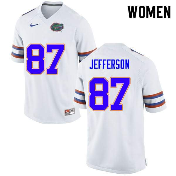 Women's Florida Gators #87 Van Jefferson White Nike NCAA College Football Jersey JUA812GJ